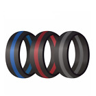 3 Pack Silicone Wedding Engagement Ring Men Women Rubber Band Gym Sport Flexible