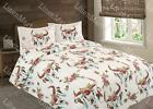 Cow Skull Flower & Feather Quilt Rustic SouthWest Bedspread Coverlet -3 Pc Set image