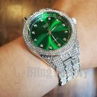 MENS ICED HIP HOP WHITE GOLD PT LUXURY GREEN DIAL METAL BAND WRIST BLING WATCH  image