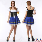Oktoberfest Beer Gilr Costume German Bavarian Bar Maid Fancy Dress Blue