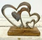 Silver Double 2 Love Hearts Ornament 18cm Sculpture Wedding Love Gift Home Decor