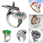 Creative Hummingbird Bird Animal 925 Silver Emerald Sapphire Ring Cocktail Party