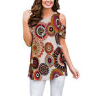 Womens Summer Cold Shoulder Swing Tops Casual Floral T Shirt Plus Size Blouse