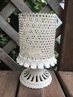 French Country Shabby Cottage Vintage Honeycomb Metal Candle Holder