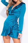 Womens Ladies Teal Satin Frill Wrap Long Sleeve Mini Dress UK Size 6, 12 & 14