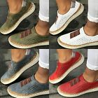 Womens Summer Slip On Low-cut Vulcanize Flat Trainers Casual Shoes Size 4.5-11