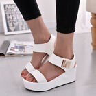 Womens Wedges Middle Heel Platform Sandals Ladies Open Toe Chunky Shoes Size 2-5