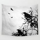 Wall Tapestry Wall Hanging Printed USA Design 43 bird crow raven gray L.Dumas