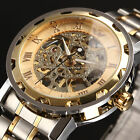 New Men Classic Transparent Steampunk Skeleton Mechanical Stainless Steel Watch image