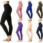 Womens Long Leggings Full Length Basic Active Cotton Span Stretch High Waist