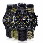 Survival Watch Bracelet Paracord Compass Flint Fire Starter Whistle Outdoor US image