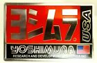 "YOSHIMURA USA Metal 4"" 3D Brushed Aluminum Emblem  Logo Fairing Sticker No Holes image"