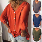 Womens Loose 3/4 Sleeve Back Buttons T Shirts Plus Size V Neck Solid Top Blouse