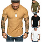 US Men's Slim Fit O Neck Short Sleeve Muscle Tee shirt Casual Tops Shirts New image
