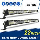 2X Ultra-thin 22inch Total 1248W LED Work Light Bar Spot Flood Combo Truck 20""