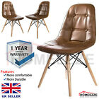 Eiffel Dining Chair Retro Wooden Legs Soft Padded Patchwork Computer Office Seat