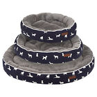 Me & My Pets Round Navy Dog Print Bed Soft Warm Washable Patterned Puppy Cushion