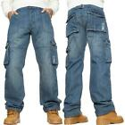Mens Cargo Jeans Combat Trousers Heavy Duty Work Casual Big Tall Denim Pants