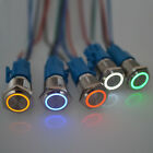 Push Button Switch Ring LED Light Momentary Latching Waterproof 16mm 5/12/24/220