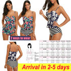 Women Tankini High Waisted Swimsuits Bathing Suit Floral Swimwear with Briefs