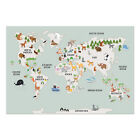 Children's Nursery A3 Animal World Map Print Wall Art Decor Poster or Framed