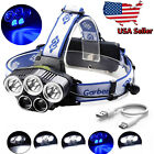 150000 Lumens 5x T6 LED USB 18650 Rechargeable Headlamp Head Light Torch Lamp US