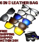 5x Clip On + 1 Frame Glass Magnetic Sunglasses Unisex Polarized w Leather Bag