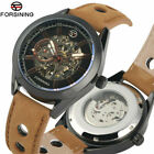 FORSINING Watches Men Auto Mechanical Watch Leather Strap Military Wristwatch
