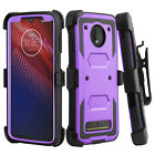 For Motorola Moto Z4/Play Case Hybrid Belt Clip Holster Hard Stand Phone Cover