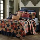 COZY LOG CABIN LODGE STAR RED BROWN BLUE COUNTRY SOUTHWEST WESTERN QUILT SET image