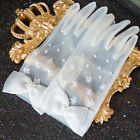 Bride Short Wrist Lace Gloves Hand-stitched Pearls Bowknot Wedding Gloves White