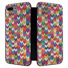 iPhone 7 PLUS Full Flip Wallet Case Cover Rainbow Knit Print Pattern - S4071