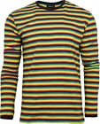 Run & Fly Rainbow Brights Striped Long Sleeve T-Shirt 70s Retro Indie