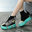 Vogue Women Platform Wedge Fashion Sneakers Cotton Knitting Ankle Boots Creepers
