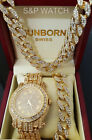 Men Hip Hop Iced Gold PT Lab Diamond Bling WATCH & Cuban Bracelet & Necklace Set image