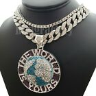 """SILVER PT THE WORLD IS YOURS BIG PENDANT  18"""" ICED CUBAN  1ROW CHAIN NECKLACE"""