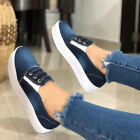 WOMENS LADIES FLATS PUMPS DENIM CANVAS CASUAL FLAT LOAFERS CASUAL SHOES UK 3-6.5