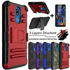 For LG K40/Solo LTE/K12+ Phone Case Hybrid Holster Cover +Screen Protector Glass $7.59 USD on eBay