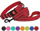 Reflective Dog Collar Lead Leash Set Adjustable Collars for Dogs Small Large