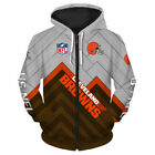 Cleveland Browns Hoodie Military Hoodie 3D Zip Up Sweashirt Pullover S-5XL on eBay