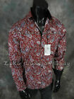 Mens COOGI LUXE Button Dress Shirt Rich Burgundy with Paisley's & Black Trim