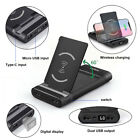 USA Qi Wireless Charger 2USB LCD 20000mAh Power Bank Battery For Samsung Note 10