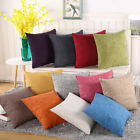 "Pillowcase Home Cotton Linen Bed Decor Throw Pillow Cover Case Cushion Solid 18"" image"