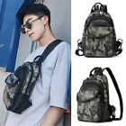 Convertible Camo Faux Leather Small Mini Backpack Chest Pack Sling Bag Travel