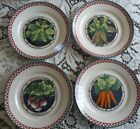 Susan Winget Fall Autumn Harvest dinner plates 4 carrot corn radish peas