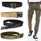 Tactical Nylon Army Style Webbing Belt Mens Military Quick Release Waist Buckle