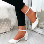 WOMENS LADIES ANKLE STRAP MID BLOCK HEEL PUMPS PATENT COMFY WORK SHOES SIZE