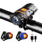 Bright 1200 Lumen USB Rechargeable Bike Bicycle Headlight Front Back lights Set