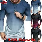 Kyпить Men Long Sleeve Slim Fit O-Neck Muscle Tee T-shirt Casual Gradient Tops Blouse на еВаy.соm