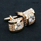New Gold Silver White Crystal Mens Cufflinks Shirt Cuff Links Wedding Party Gift